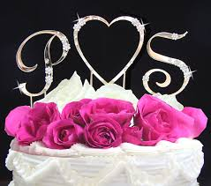 heart cake topper flower initials heart cake topper set wedding cake
