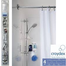 L Shaped Shower Rail Croydex 4 Way Shower Bath Heavy Duty Aluminium Modular Chrome