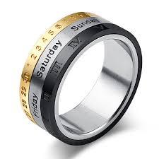 steel titanium rings images 8mm titanium steel tricolor calendar time wedding ring men 39 s jpg