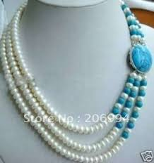 white pearl necklace designs images Online shop wholesales design 3 row blue stone clasp 6 7mm white jpg