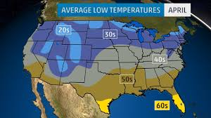 us weather map for april monthly average temperatures weather