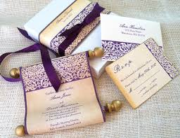 scroll wedding invitations wedding invitation suite in aubergine and gold 25
