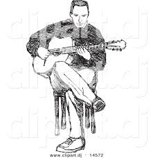 vector clipart of a man playing guitar while sitting in chair