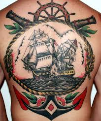 large anchor and sailor on back