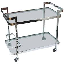 polished chrome and smoky black glass two tiered bar serving cart