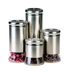 kitchen canisters stainless steel gbs3024 helix 4 canister set kitchen canisters products