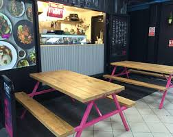 Bench Restaurant Reclaimed Industrial Chic 6 8 Seater Solid Wood And Metal