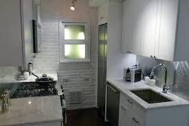 kitchen arrangement ideas small white kitchen design with white brick wall idea modern