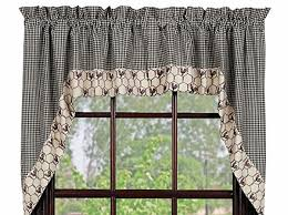 Primitive Country Kitchen Curtains by Primitive Country Chicken Wire Rooster Swag Black Cream Check
