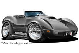 cartoon convertible car 74 corvette convertible