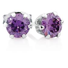 purple stud earrings earrings with purple cubic zirconia in sterling silver