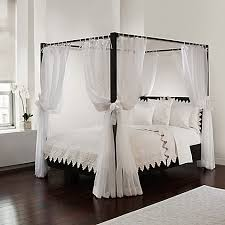 poster bed canopy curtains tie sheer bed canopy curtain set in white bed bath beyond