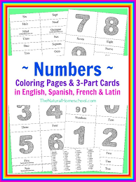printable montessori curriculum number coloring pages 3 part cards in 4 languages printable