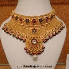 gold choker necklace sets images Gold meenakari choker necklace set south india jewels jpg