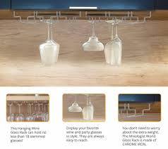 under cabinet wine glasses rack kit with polishing cloth wall
