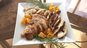 thanksgiving dinner turkey breast turkey off the hook on the plate