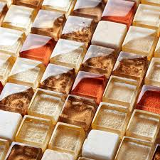 crystal glass tiles tstgt043 red orange malaysia style squared