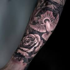 black and grey forearm tattoos black and grey with flying dove