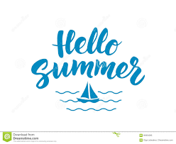 hello summer text with nautical design elements boat icon stock