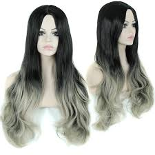 gray hair pieces for american 30 long curly fake hair cheap synthetic ombre wig celebrity grey