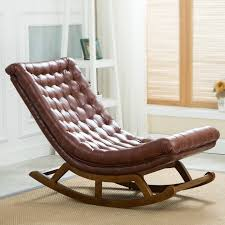 modern design rocking lounge chair leather and wood for home furniture living room luxury rocking