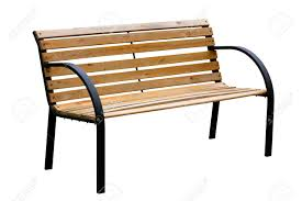 wooden weathered yellow garden bench with metal legs isolated