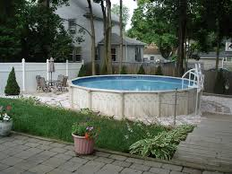 outdoor above ground pools and decks landscaping around above