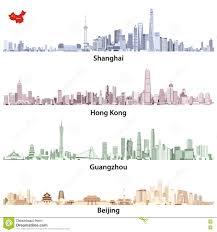 Shanghai China Map by Abstract Vector Illustrations Of Shanghai Hong Kong Guangzhou