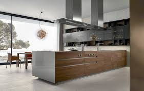 contemporary linear kitchen in white wood and stainless steel