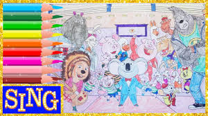 sing movie all the characters coloring book pages video for kids