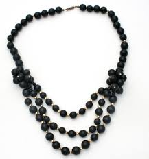 statement necklace store images Vintage black gold bead statement necklace 24 in the jewelry JPG