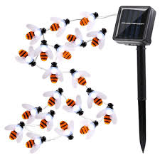 Orange Solar String Lights 20 led bumble bee garden lights cool white solar powered outdoor