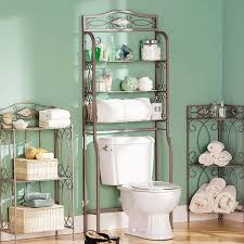 bathroom bathroom with wrought iron towel and utility shelf and