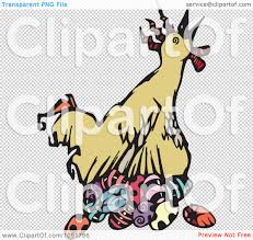 clipart chicken laying easter eggs royalty free vector