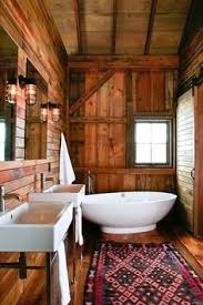 rustic cabin bathroom ideas modern rustic wooden teak surround corner freestanding oval