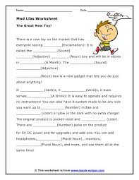 mad libs parts of speech worksheets programming pinterest