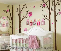 Tree Nursery Wall Decal Birch Trees Nursery With Owls For Baby Room Owl Decals In Forest