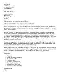 Football Resume Softball Coach Cover Letter