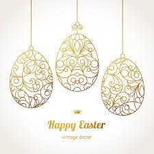 golden ornamental eggs for your easter design stock illustration