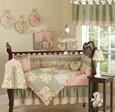 Pink And Green Crib Bedding Annabel Green Floral Antique Flower Baby