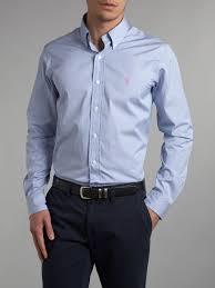 ralph lauren light blue lyst polo ralph lauren long sleeved custom fitted shirt in blue
