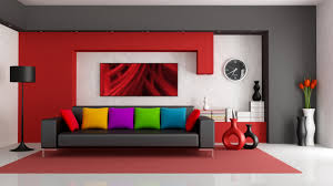 interior colorfull cushion red accent living room wall paint