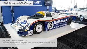 most expensive sold at auction 1982 porsche 956 coupe 10 most expensive cars sold at pebble