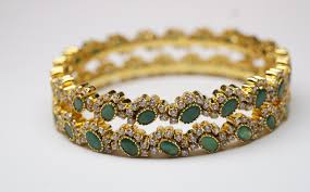 emerald diamond gold bracelet images Exclusive emerald cz bangles made with sterling silver gleam jewels JPG