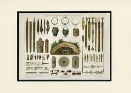 Celtic Home Decor by Large Antique Sword Print C 1894 Iron Age Weapons Equipment