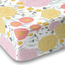 vintage floral on gray fitted crib sheet baby bedding grey with