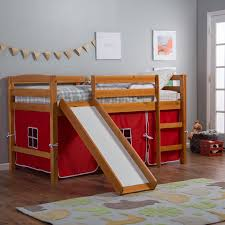 pine ridge tent twin loft bed with slide honey hayneedle