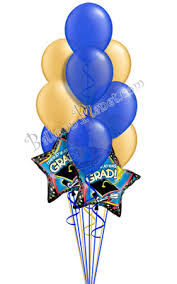 balloons delivered blue gold grad balloon bouquet 12 balloons delivered by