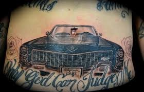 only god can judge me grey ink car tattoo on belly tattooshunt com