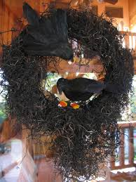 Black Halloween Wreath Halloween Wreath Made With Moss And Crows